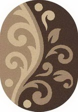 Ковер PLATINUM_t621, 0,8*1,5, OVAL, D.BEIGE-BROWN